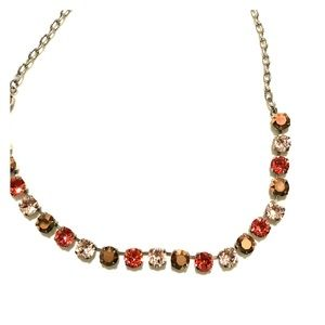 Coral and Copper Swarovski Crystal Necklace